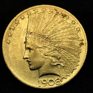 1908-Motto-10-Indian-Head-Eagle-Gold-Coin-In-Excellent-Condition