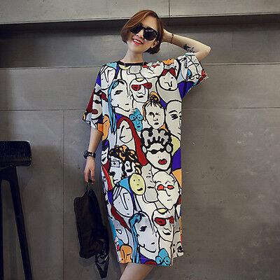 Womens big size loose short sleeve dress midi T-shirt comfort sweater dress