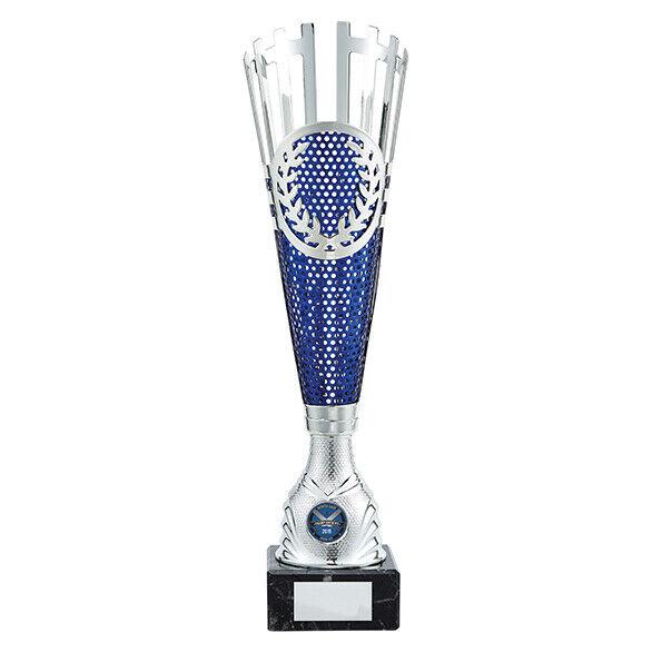 Inspire Multi Sport blu & argento Laser Coupe Trophée Gratuit Gravure Dix Broche