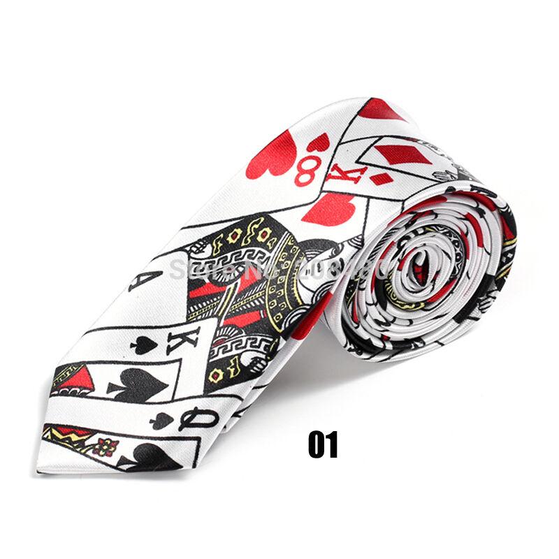 Unisex Novelty Fancy Dress White Playing Card Poker Skinny Tie - Brand New