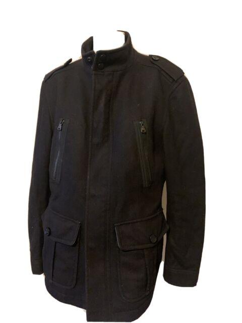 Hugo Boss Size 40R Black Wool Military Style Collar Field ...