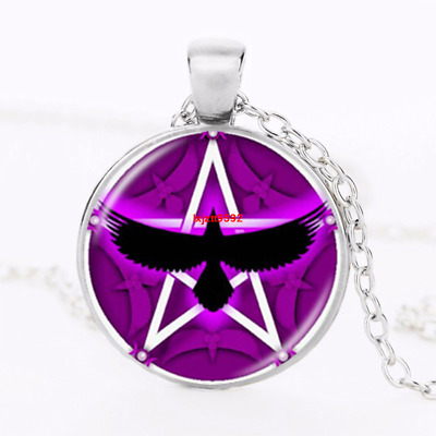 Witch and Raven Cabochon Tibetan silver Glass Chain Pendant Necklace Zombie