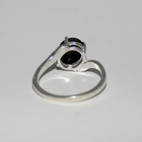 Natural Black Star Sapphire Ring Sterling Silver 2.5 Carats