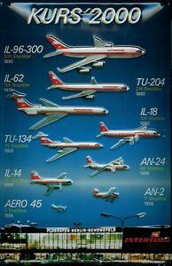 Interflug Kurs 2000 Blechschild Schild 3D geprägt gewölbt Tin Sign 20 x 30 cm