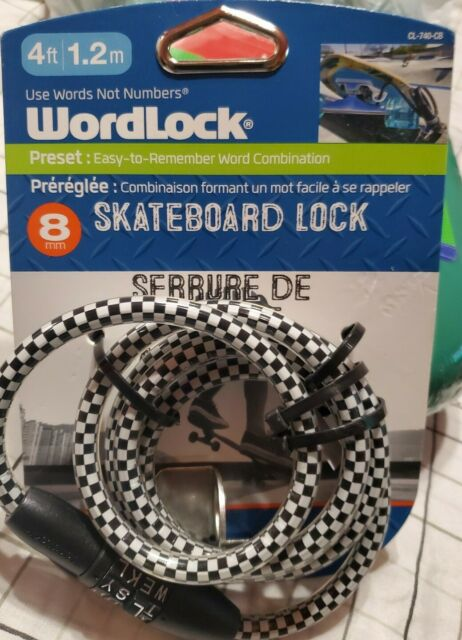 Never Wordlock Skateboard Lock 8mm Use Words Not Numbers for sale online