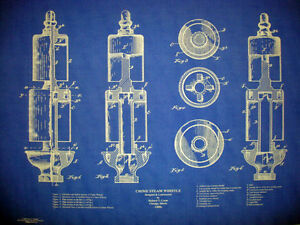 Antique crane company brass steam whistle blueprint plan 19x28 image is loading antique crane company brass steam whistle blueprint plan malvernweather Images