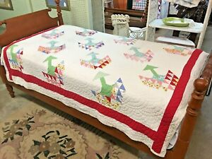 Vintage-75-X-58-Hand-Stitched-Quilt-Red-Border