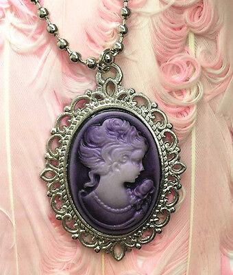 1pcs Fashion Purple Beauty Head Goddess Cameo Charm silver Alloy Lady Necklace