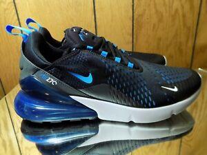 NIKE AIR MAX 270 Men's Black Photo Blue Fury AH8050 019 New In Box Sneakers