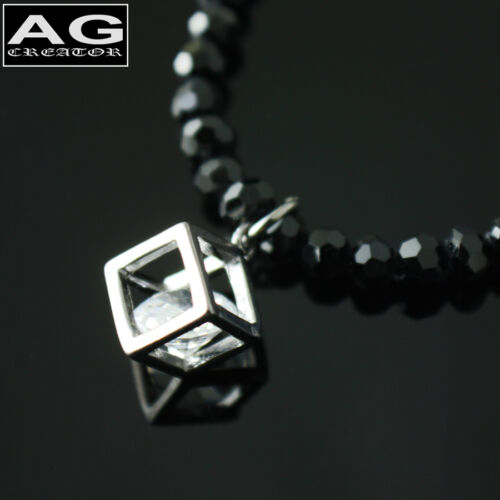 """Black beads rectangular cubic in box pendant with 17/"""" necklace US SELLER"""