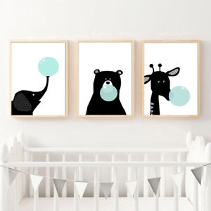 Image Is Loading Black White Elephant Bear Bubbles Canvas Poster Nursery