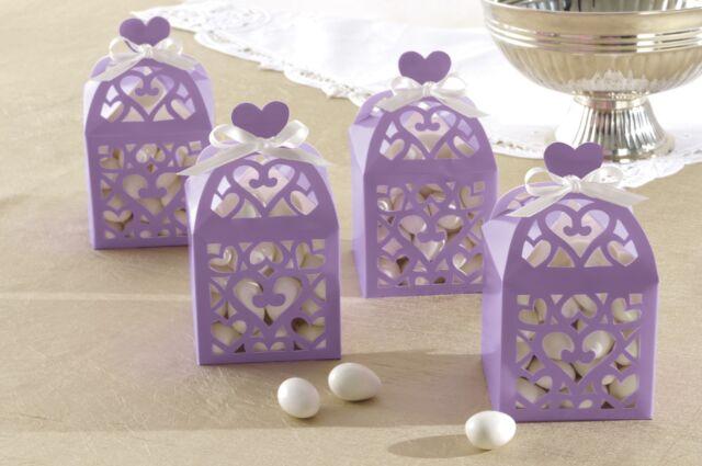 White Lantern Wedding Favor BoxHeartsEngagementParty Gifts 1-100pk
