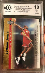 Gold-Lebron-James-ROOKIE-CARD-2003-Phenomenal-Beginnings-13-Gem-mint-10-BCCG