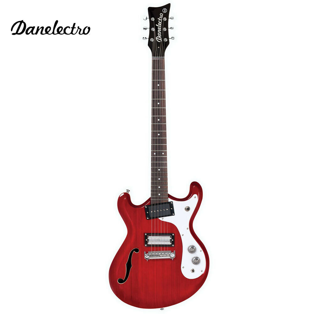 NEW Danelectro The '66 Semi Hollow Body Electric Guitar Transparent rot D66-Trot
