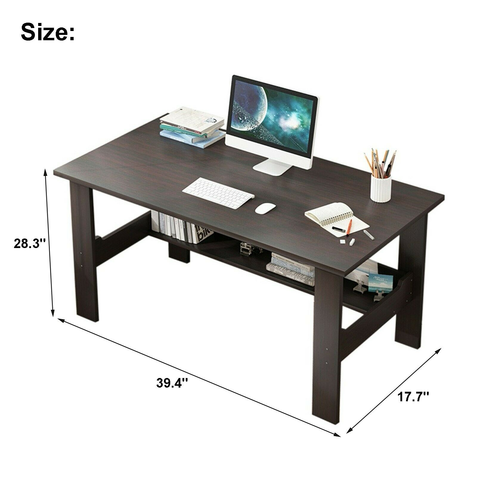 Computer Desk Workstation Home Office Student Dorm Laptop Study Table w/Shelf