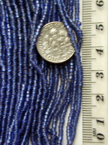 Vintage Sapphire Blue Glass 11//0 Silver Lined Seed Beads FOUR MINI HANKS 18bpi