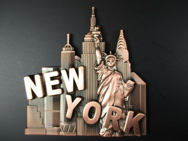 York Metal Magnet, Statue of Liberty, Empire, Chrysler, World Trade no1