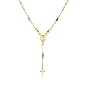 18K-Gold-Plated-18-034-Multi-Color-Crystal-Rosary-with-Virgin-Mary-and-Cross-Charm