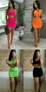 Ladies Summer Mini Skirt Crop Top 2 Piece Set Dress Womens Co ord 8-14 Bodycon