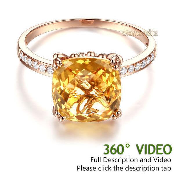 14K pink gold Luxury Wedding Anniversary Ring Yellow 3.6 Cushion Citrine Diamond