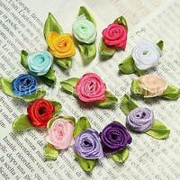 100pcs Mini Satin Ribbon Rose Flower Leaf Wedding Decor Appliques Sewing DIY
