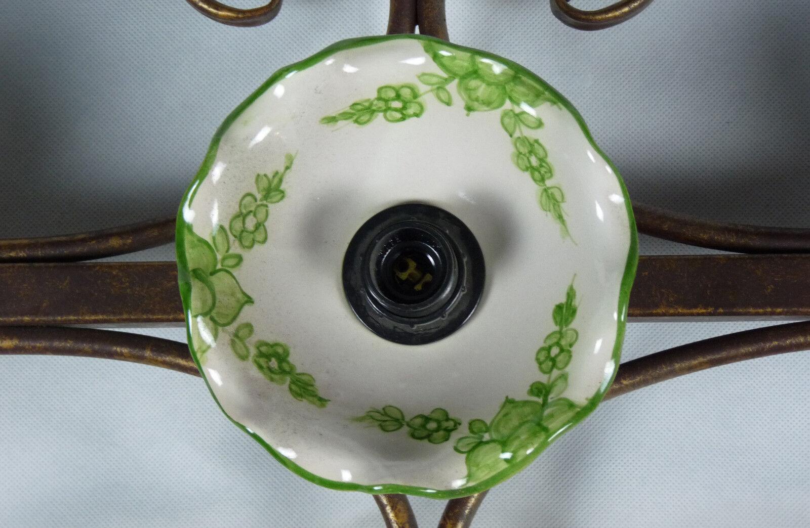 Applique lampada lampada lampada ceramica decorata led ferro