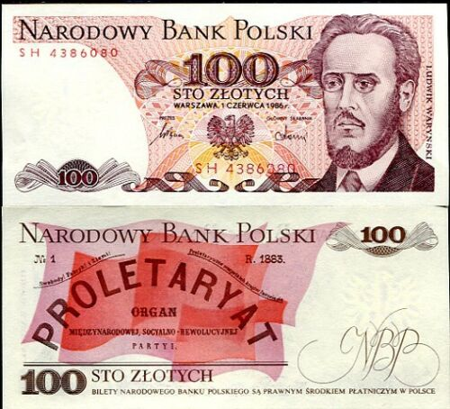 POLAND 100 ZLOTYCH 1986 P 143 UNC