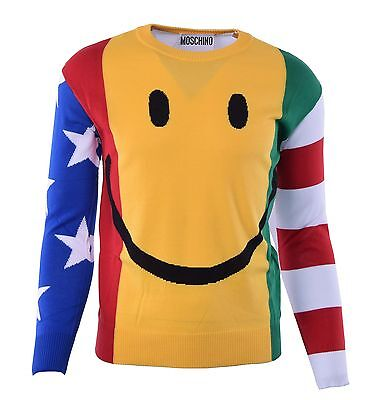 MOSCHINO COUTURE Knitted Smiley Sweatshirt Sweater w. USA Japan Flags Print 0447