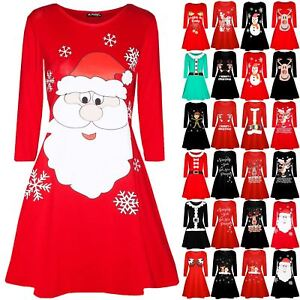 Womens-Christmas-Santa-Costume-Hat-Dancing-Reindeer-Xmas-Ladies-Swing-Mini-Dress