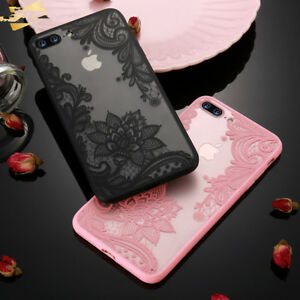 For-iPhone-6S-6-7-8-Plus-X-3D-Lace-Flower-Soft-TPU-Clear-Phone-Case-Cover-New