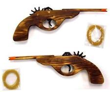 2 SOLID WOOD ELASTIC SHOOTING LONG BARREL GUN 12 IN rubber band shoot toy pistol