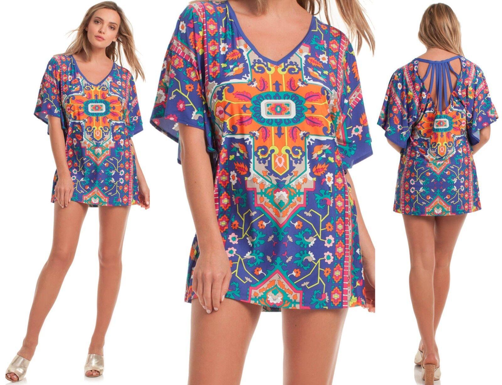140 Trina Turk Tapestry Multi Print Stretch Jersey Cover Up Tunic Dress