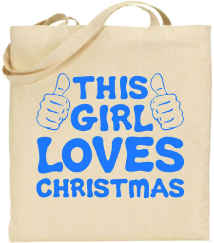 This Girl Loves Christmas Large Cotton Tote Shopping Xmas Bag Secret Cool Gift