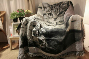 Admirable Cotton Blackwhite Cat Animal Pattern Sofa Throw Blanket Chair Covers 120X150Cm Gmtry Best Dining Table And Chair Ideas Images Gmtryco