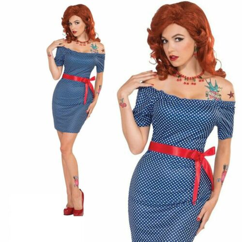 Adult Ladies 1950s Pin Up Polka Dot Retro Betty Costume Fancy Dress Outfit