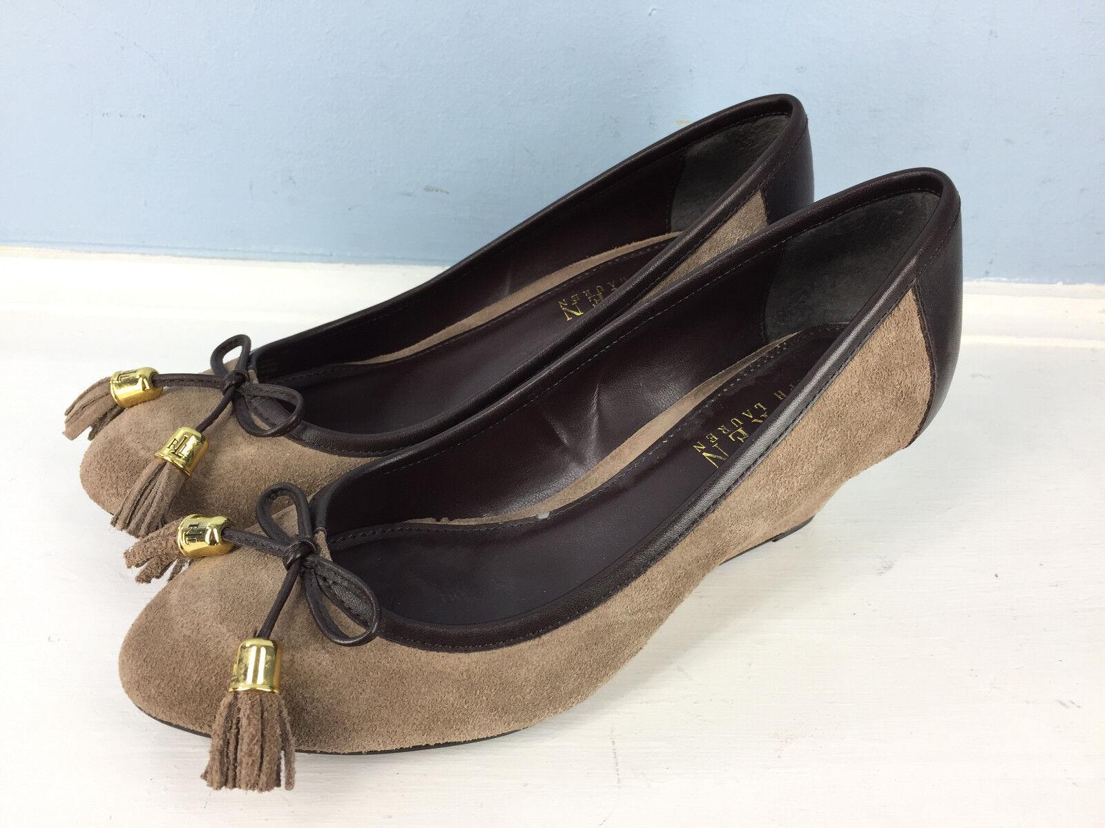 Ralph Lauren 7 Taupe Suede Brown Leather Wedge Heels Career Tassel Excellent