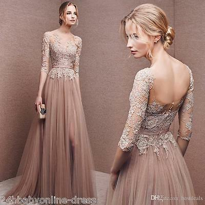 Babyonline Lace Long Prom Dresses Evening Bridesmaid Party Cocktail Formal Gown