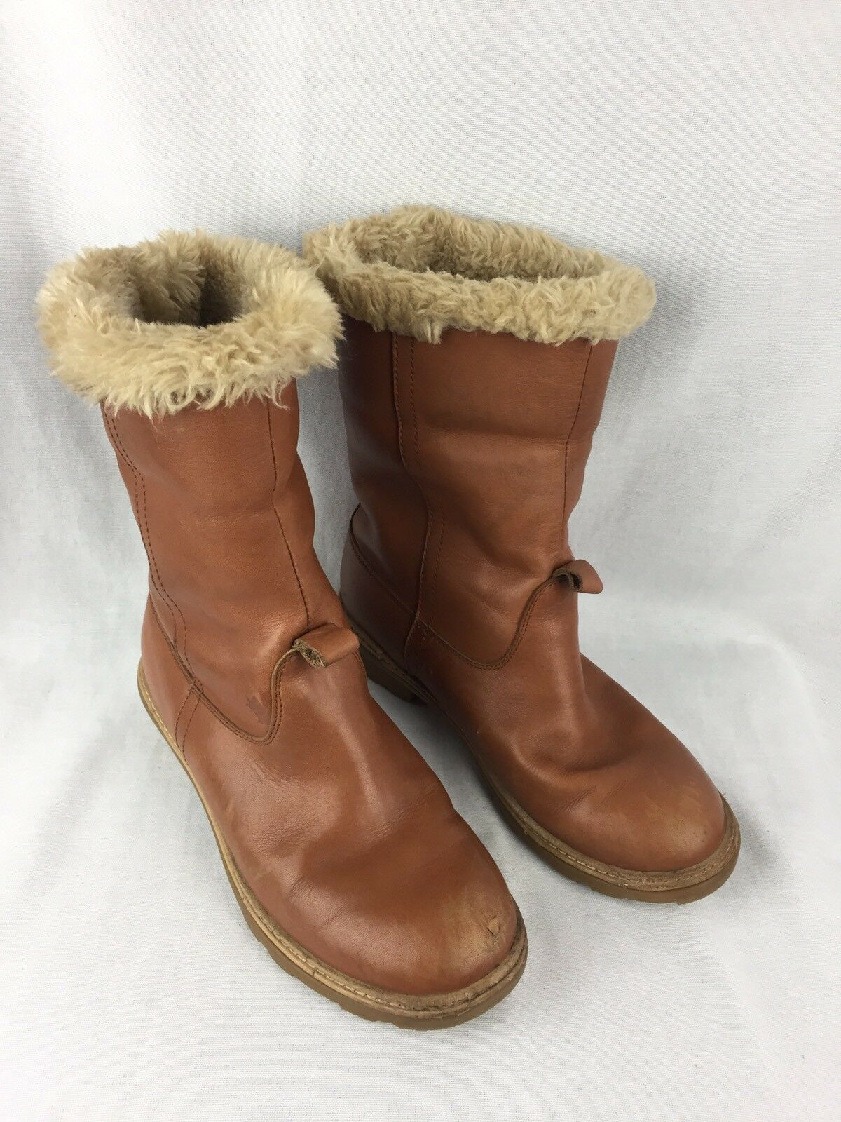 Pajar Canada Womens US 7.5 Tan Leather Mid-Calf Boots Pull On Winter Lined Boots Mid-Calf 1f01bd