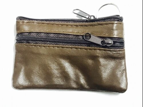 Men Women Genuine Leather Card Coin Key Holder Zip Wallet Pouch Bag Purse*clrCn