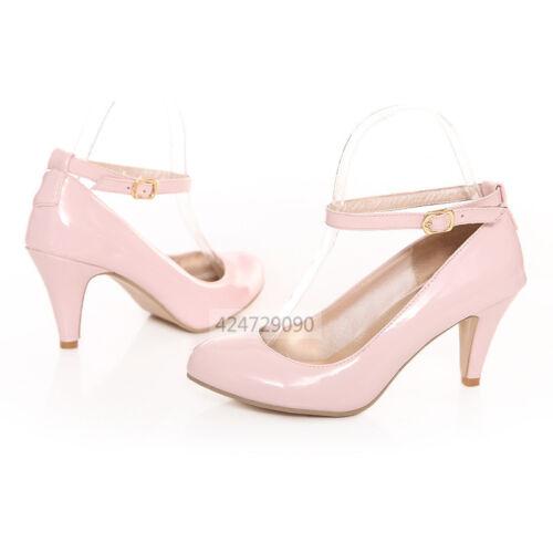 Women OL Ladies Kitten Heels Sandals Ankle Strappy Pumps Shoes US Size 2-10.5