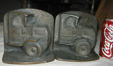 ANTIQUE ART DECO MACK TRUCK OIL GAS TOOL STATUE CAST IRON BOOKENDS BRONZE SIGN