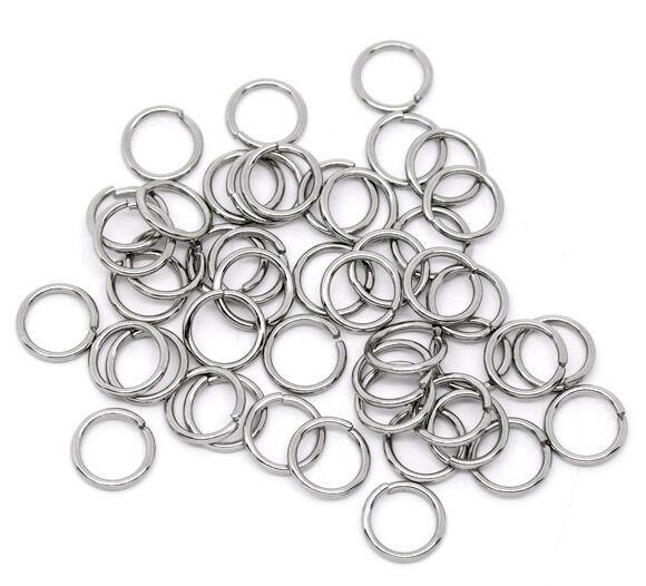 70 anneaux de jonction argenté  10 mm x 1 mm