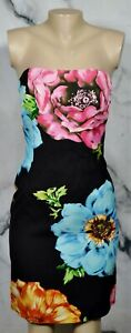 DAVID MEISTER Black Multicolor Beaded Floral Print Strapless Dress 4 Lined Party