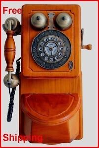 Image Is Loading Kitchen Wall Phone Vintage Wooden Telephone Retro Classic
