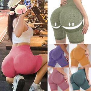 SLIMBELLE Seamless Butt Lifting Shorts for Women High Waist Workout Gym Shorts Scrunch Booty Running Biker Shorts