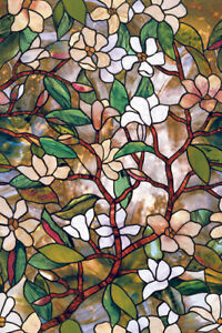 New-FLORAL-Privacy-Stained-Glass-Decorative-Window-Film-Magnolia-Decor