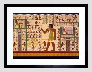 Détails Sur Dessin Peinture Murale Gizeh Tombeau Antique Egypte Hiéroglyphes Encadrée Art Imprimé B12x9797 Afficher Le Titre D Origine