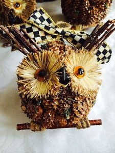 Mackenzie-Childs-COURTLY-CHECK-BOW-PINE-CONE-OWL-ON-BRANCH-ORNAMENTS-LG