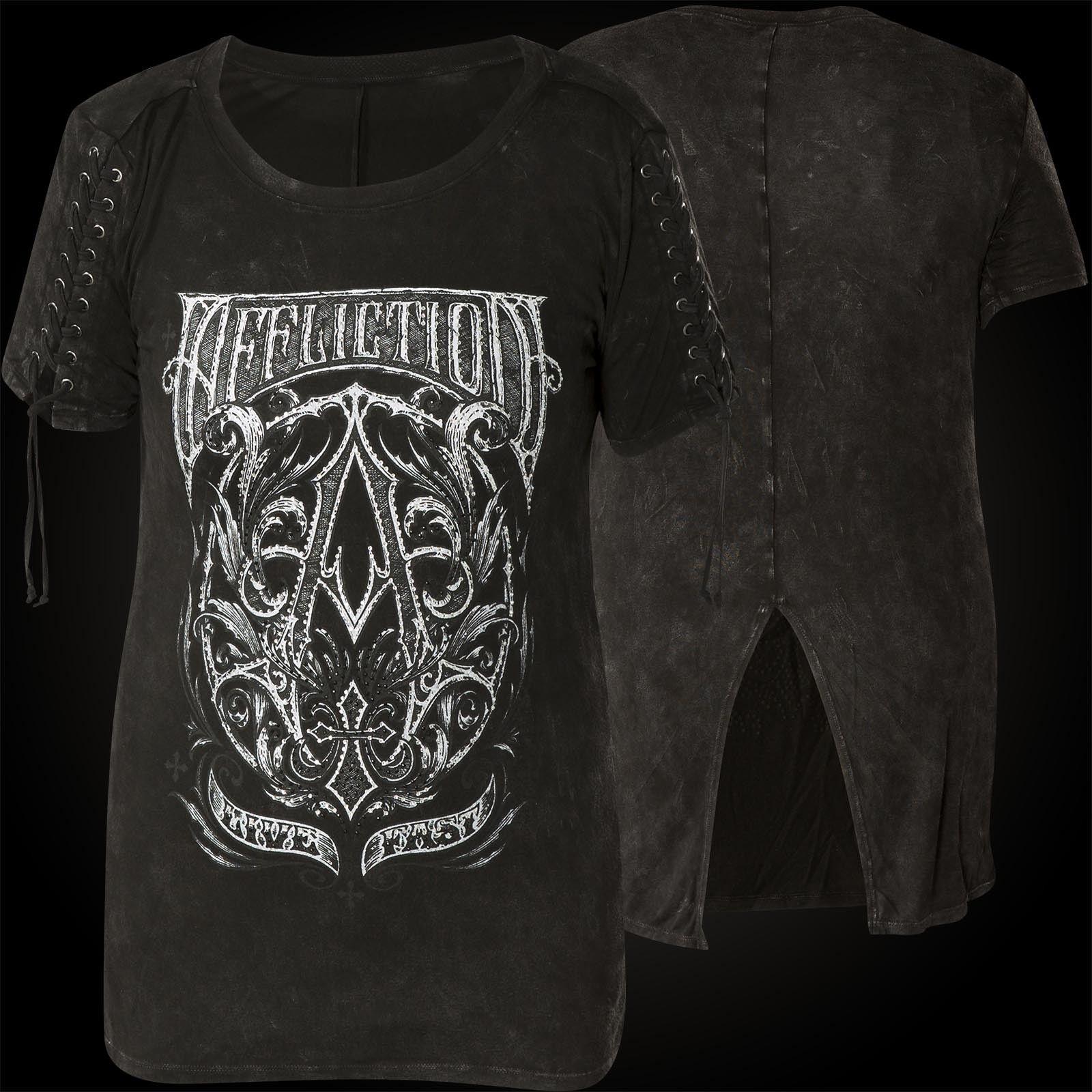 AFFLICTION Damen T-Shirt A Frame Schwarz