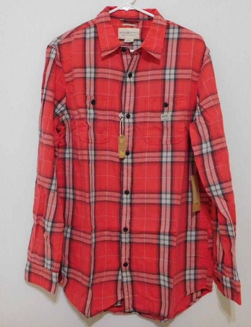 Ralph Lauren Men Red Plaid Cotton Twill Sport Shirt -  Large L NEW